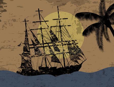 Гранж-фон с пиратский корабль