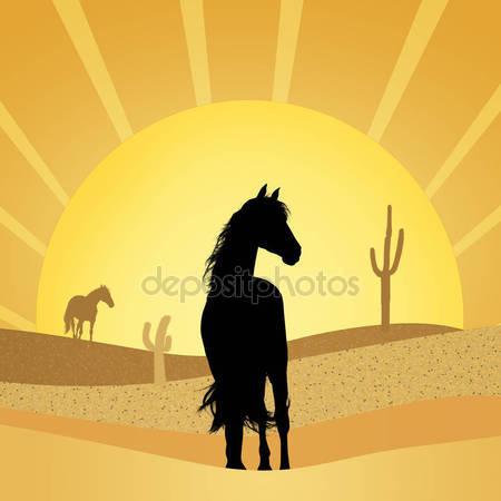 Лошади в пустыне