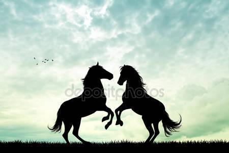 Лошади в любви на закате