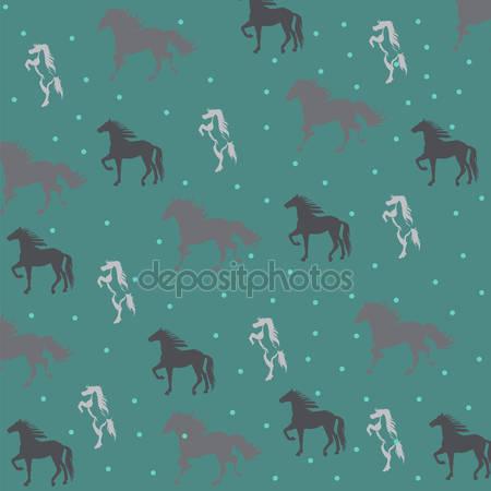 Зеленый фон с лошадьми