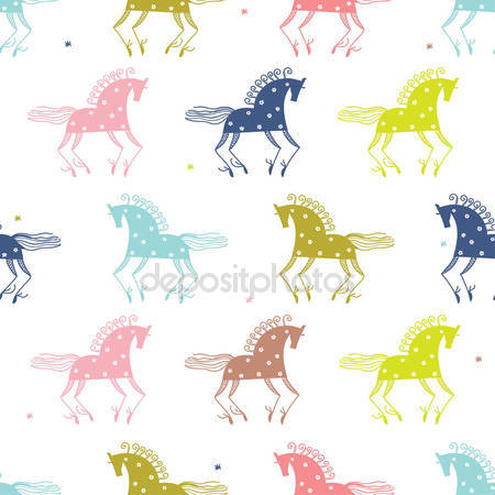 Шаблон с красочными лошадьми