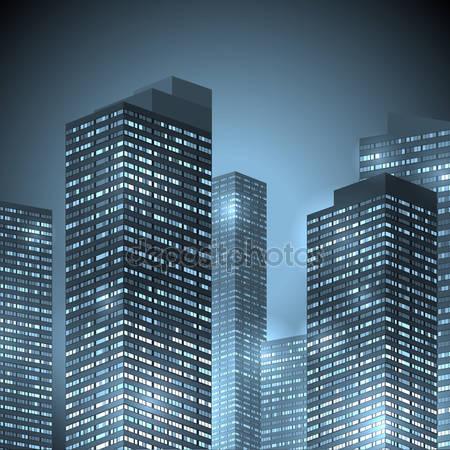 Центр города небоскребов фоне города