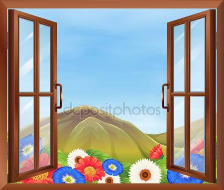 Открытое окно с цветами за пределами