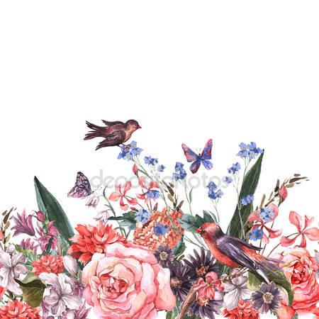 Цветочная бесшовная акварель