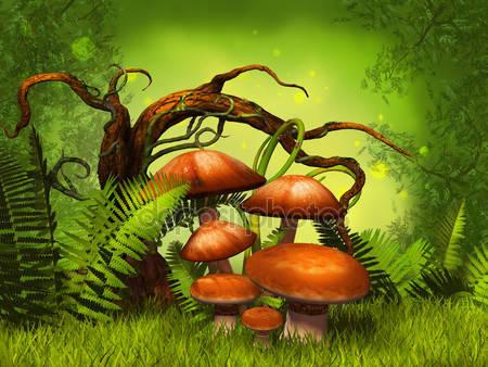 Грибы фантастический лес