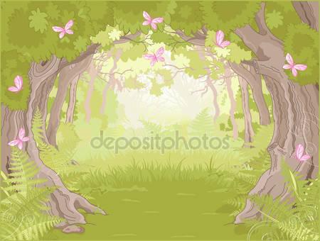 Поляна в волшебном лесу