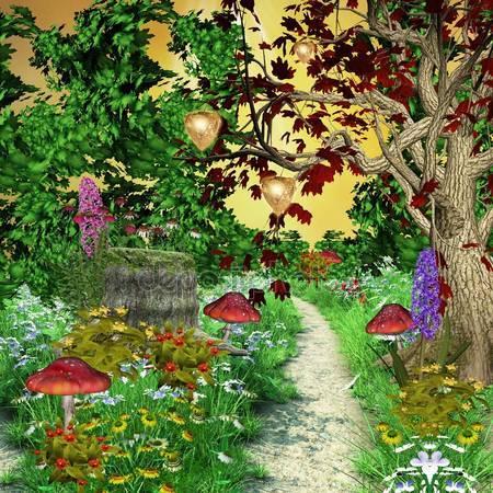 Очарованный путь в середине леса