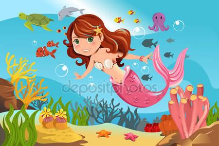 Русалка в океане