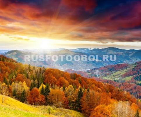 Фотообои Осенний лес в горах