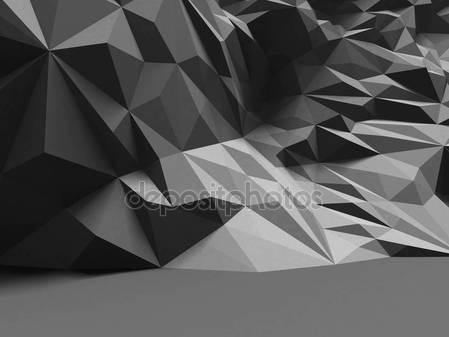 Фотообои Абстрактный интерьер с многоугольной хаотичной стеной