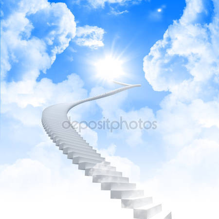 Фотообои Белая лестница в небо