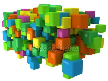 Фотообои Абстрактный фон 3d с цветными кубиками