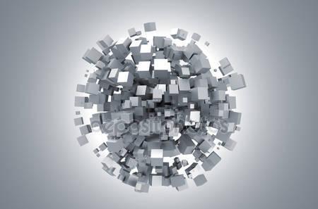Абстрактный 3d-рендеринг белых кубиков