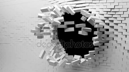 Фотообои 3d битый кирпич