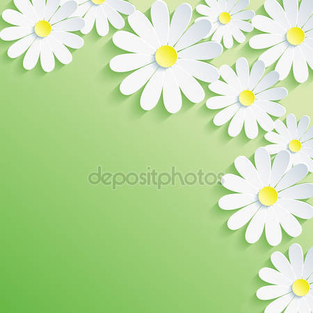 Абстрактный зеленый фон с 3d цветами