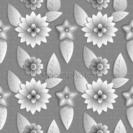 Фотообои 3d рисунок цветов с листьями