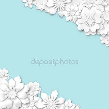 Синий абстрактный фон с белыми цветами 3d
