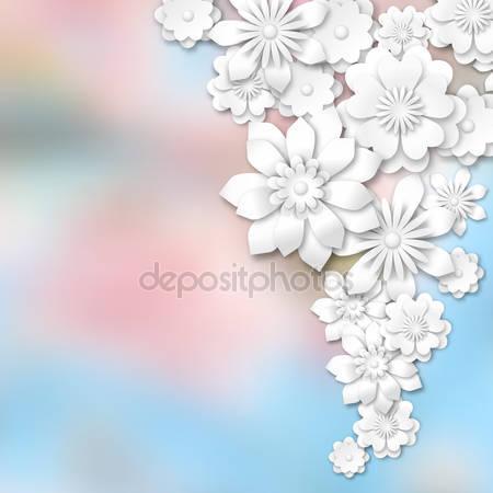 Белые цветы 3d