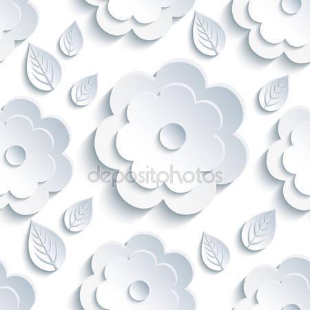 Фотообои Бесшовные фон с серыми цветами и листьями