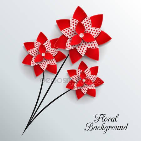 Романтический фон с тремя цветками