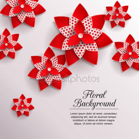 Романтический фон из 3d бумажных цветов