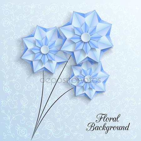 3d цветы голубой бумаги