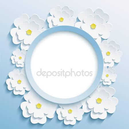 Круглая голубая рамка с 3d сакурой