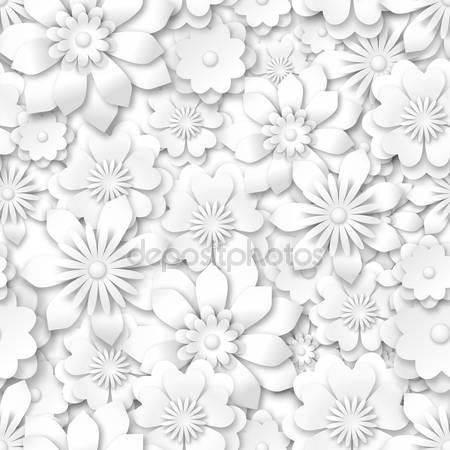 Белые цветы с 3d-эффектом