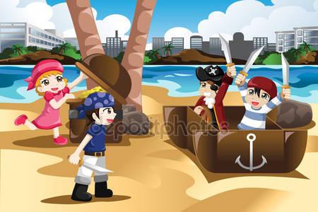 Фотообои Дети играют в пиратов