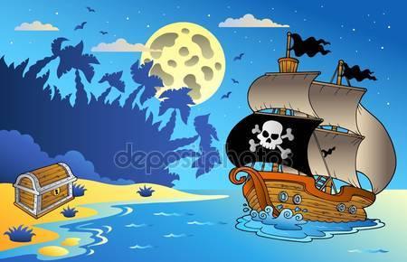 Фотообои Ночной пейзаж с пиратским кораблем
