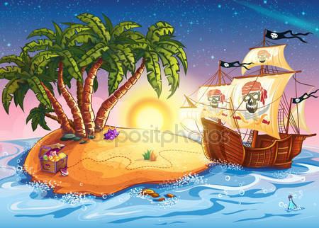 Фотообои Остров сокровищ и пиратский корабль