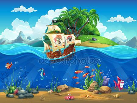 Фотообои Мультфильм подводный мир
