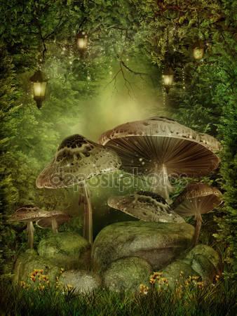 Зачарованный лес с грибами