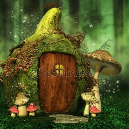 Маленький сказочный дом с грибами