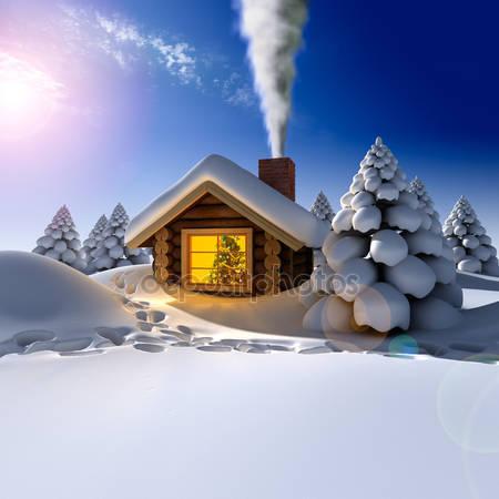 Фотообои Небольшой деревянный дом в лесу