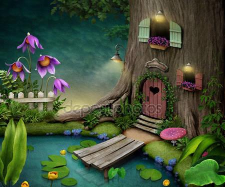 Фотообои Дерево с домиков внутри