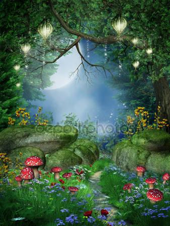 Зачарованный лес с фонарями