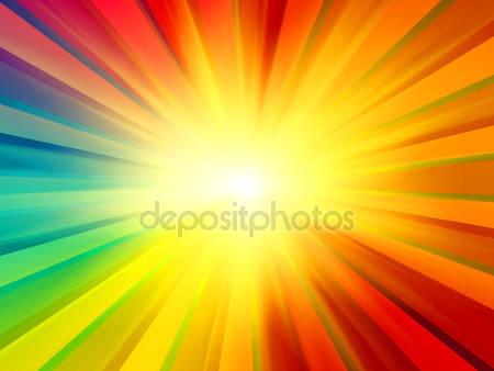 Разноцветные лучи солнца