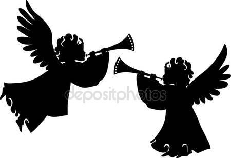 Фотообои Cute angels silhouettes set