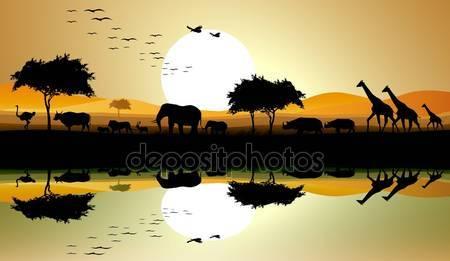 Силуэт сафари животных