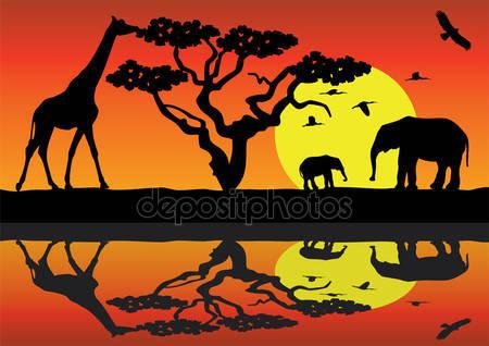 Жираф и слоны в африке