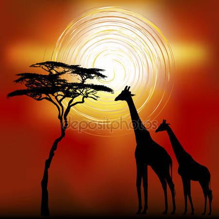Фотообои Африканский пейзаж с жирафами