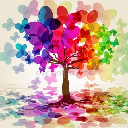 Абстрактное красочные дерево. Из бабочек