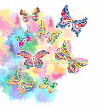 Романтический красочный фон с бабочками
