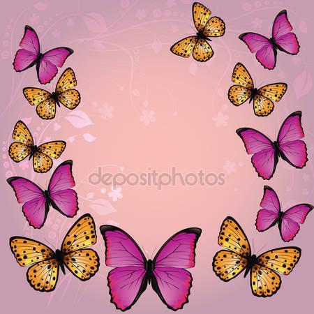 Розовый фон с бабочками