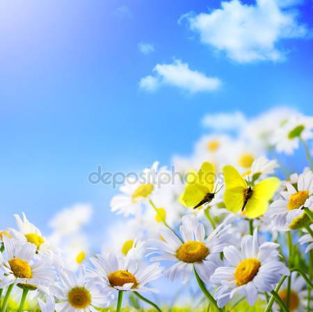 Весений фон с бабочками