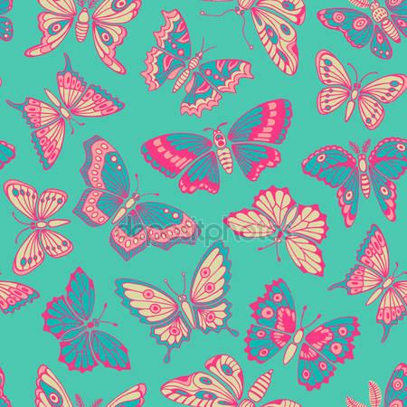 Фотообои Бесшовный паттерн с бабочками