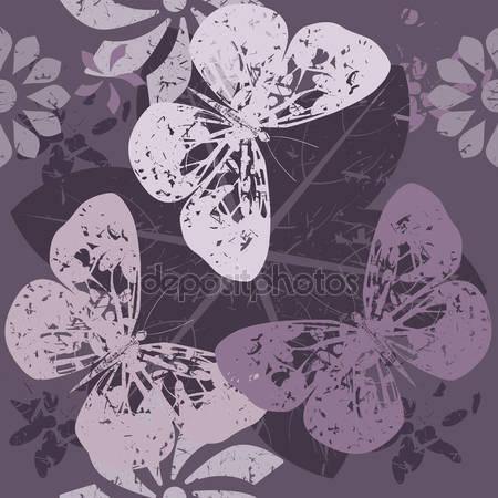 Стильный узор с силуэтами бабочки