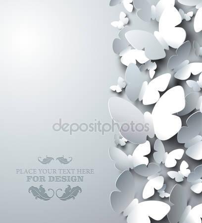 Фотообои Белый фон с вырезом бабочек