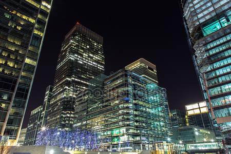 Фотообои Небоскребы canary wharf ночью